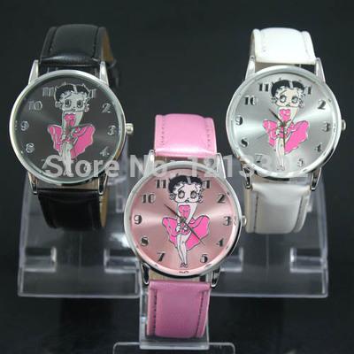 High Quality Wrist Watch for Women Leather Band Betty Boop Pattern White Stylish Watch(China (Mainland))