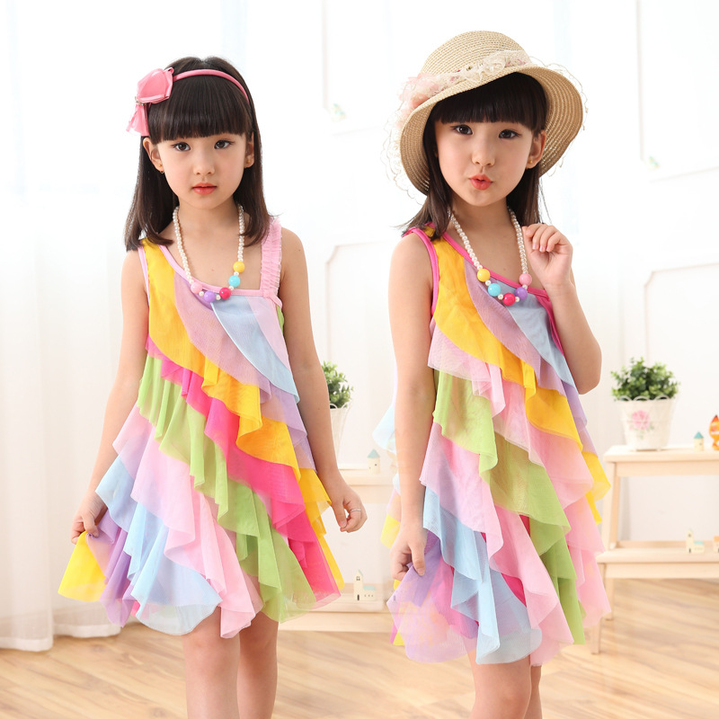 2016 Summer Girls Dress Chiffon Candy Rainbow Toddler Girl Dresses Strap Beach Princess Dress for Girls Clothes(China (Mainland))