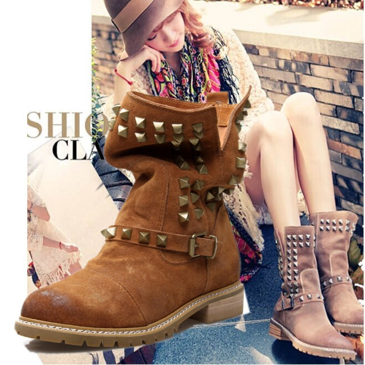 Womens Fashion Rivet genuine leather Suede martin boots women autumn shoes Cow Muscle Western style boots, free shipping <br><br>Aliexpress