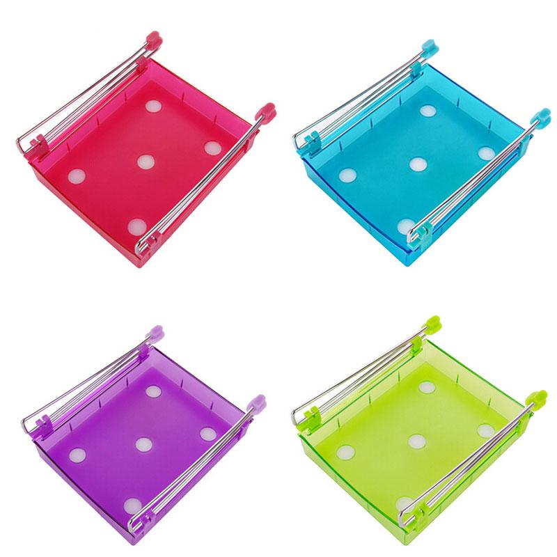 hot selling 4 Colors Slide Kitchen Fridge Freezer Space Saver Organization Storage Rack Shelf Pull-out Drawer Organizer(China (Mainland))