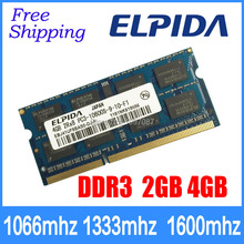 DDR3  ELPIDA  2GB 4GB  1066mhz 1333MHz 1600mhz PC3-10600S 8500 12800 Laptop memory notebook RAM 204PIN SODIMM Fully compatible