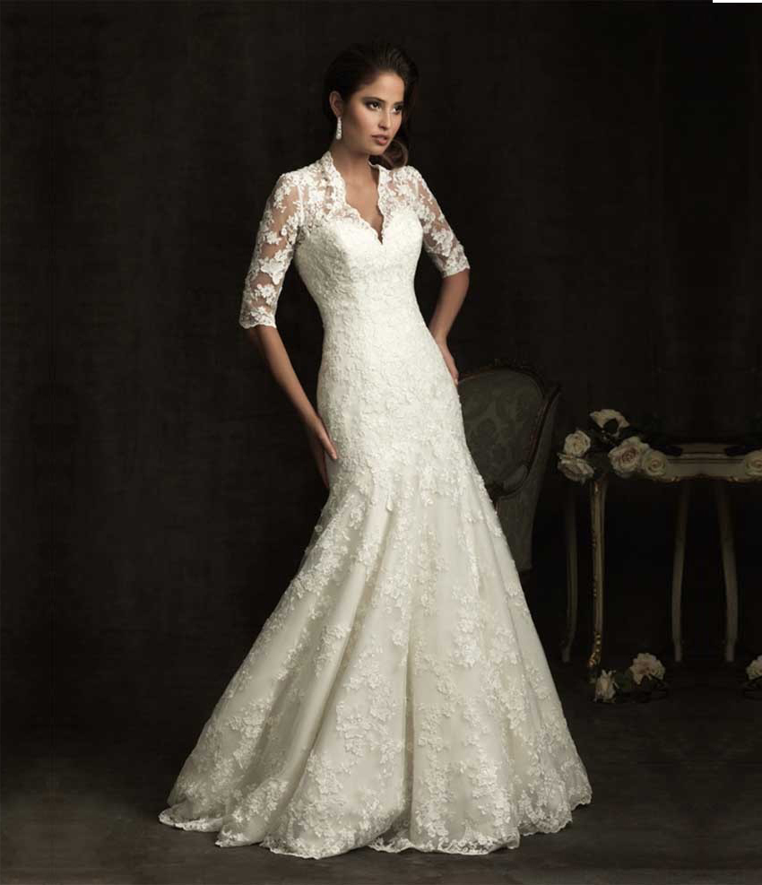Elegant sheer short sleeve lace mermaid wedding dress 2015 for Vintage lace dress wedding
