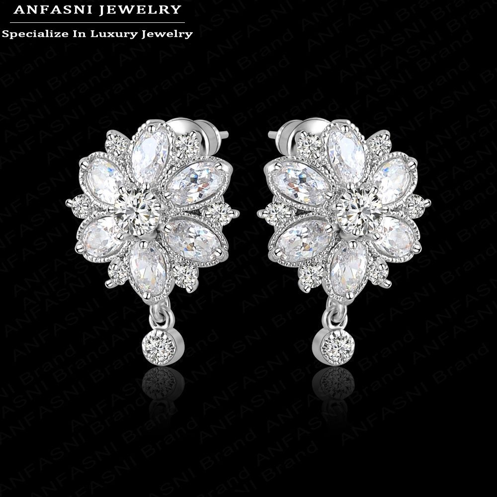 Hot Sale Earrings Studs High Quality Marquise Cut Clear Color Cubic Zirconia Diamond Flower Stud Earrings CER0011-B(China (Mainland))