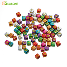 "Buy 8SEASONS Acrylic Spacer Beads Square Random Alphabet /Letter Enamel 6mm (2/8"")x 6mm (2/8""),Hole: Approx 3.5mm,500 PCs for $5.11 in AliExpress store"