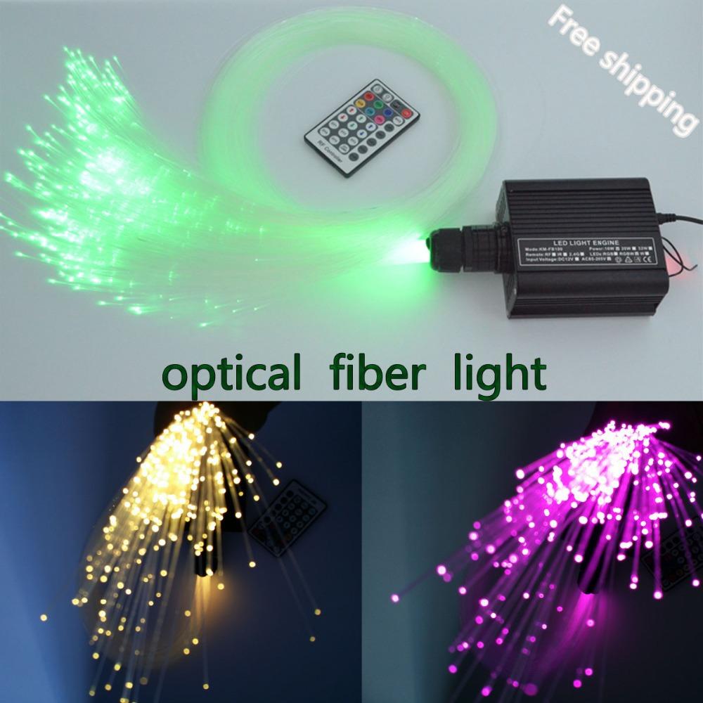 Coloful 16w LED RGBW plastic Optical Fiber Light 0.75mm *150pcs* 2m fiber optic+ light engine RF Remote(China (Mainland))