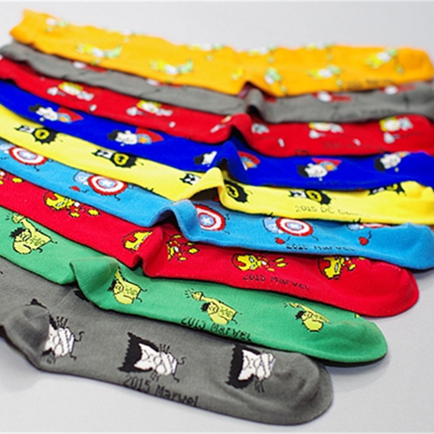 2015 Men Animation Socks Meias Calcetines Male Cotton Tube Superman Iron Man Captain America Sock for