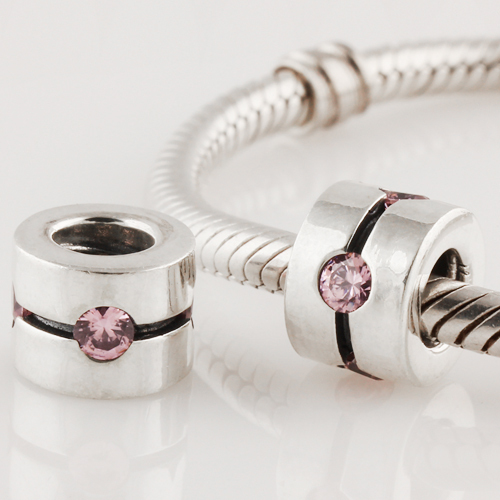 Fits Pandora Original Charms Bracelet 925 Sterling Silver Bead Crystal Column Pattern European Women Charm DIY Jewelry Findings(China (Mainland))