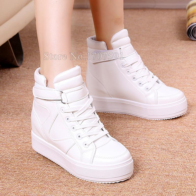 Hot Sale Women shoes 2016 newest high top lace up leather breathable platform height increasing fashion womens casual shoes<br><br>Aliexpress