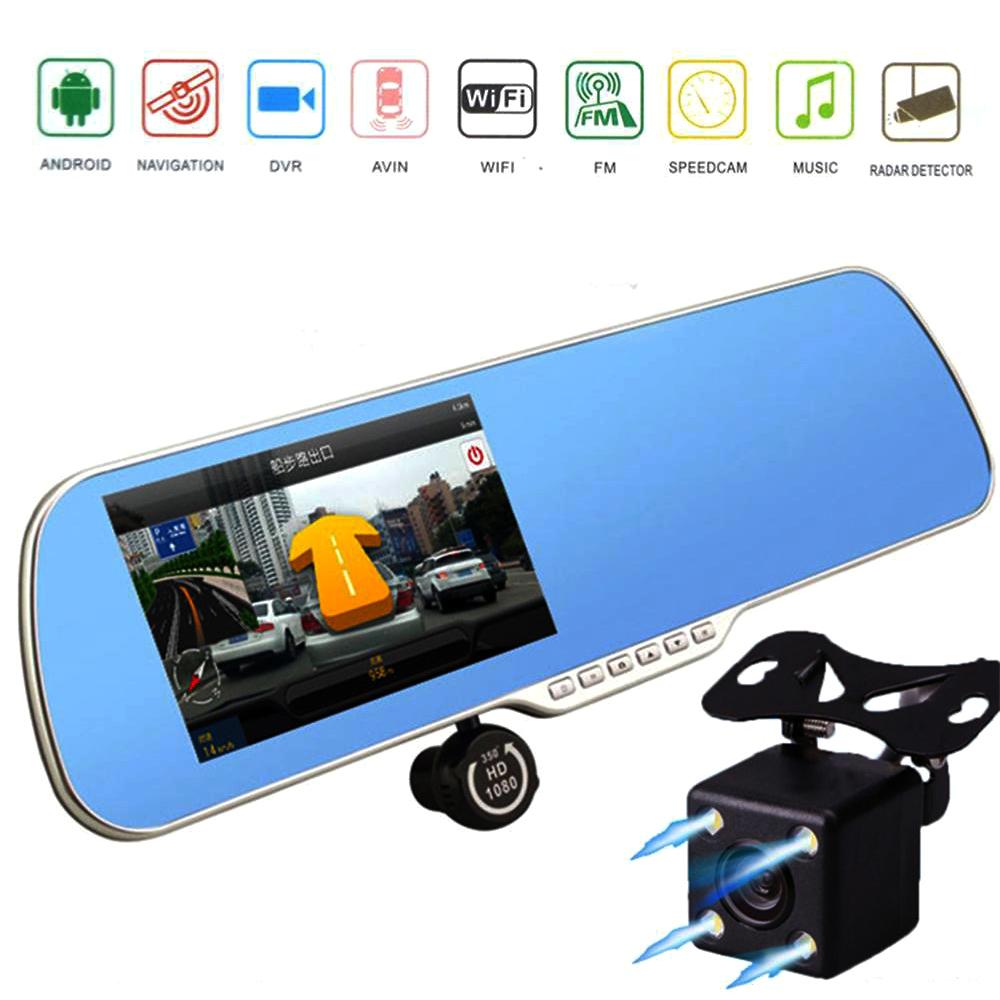 Novatek 96650 android Dual car DVR wifi gps rearview mirror camera navigator FHD 1080P video recorder auto registrator camcorder(China (Mainland))