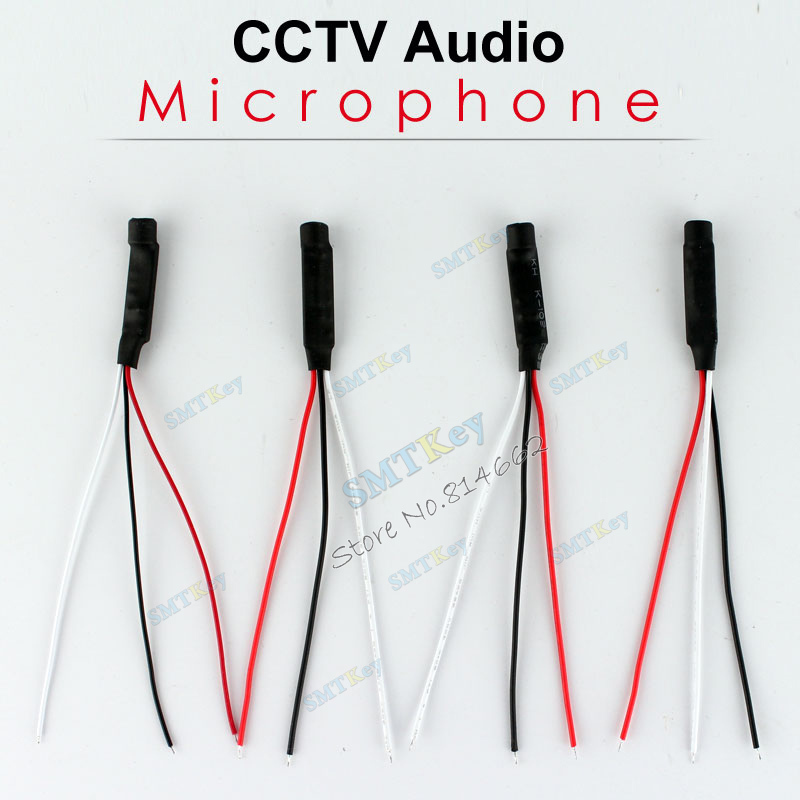 4pcs a lot DC Power Wide Range Mic Audio Microphone For CCTV Mic Audio Cameras DVR System(China (Mainland))