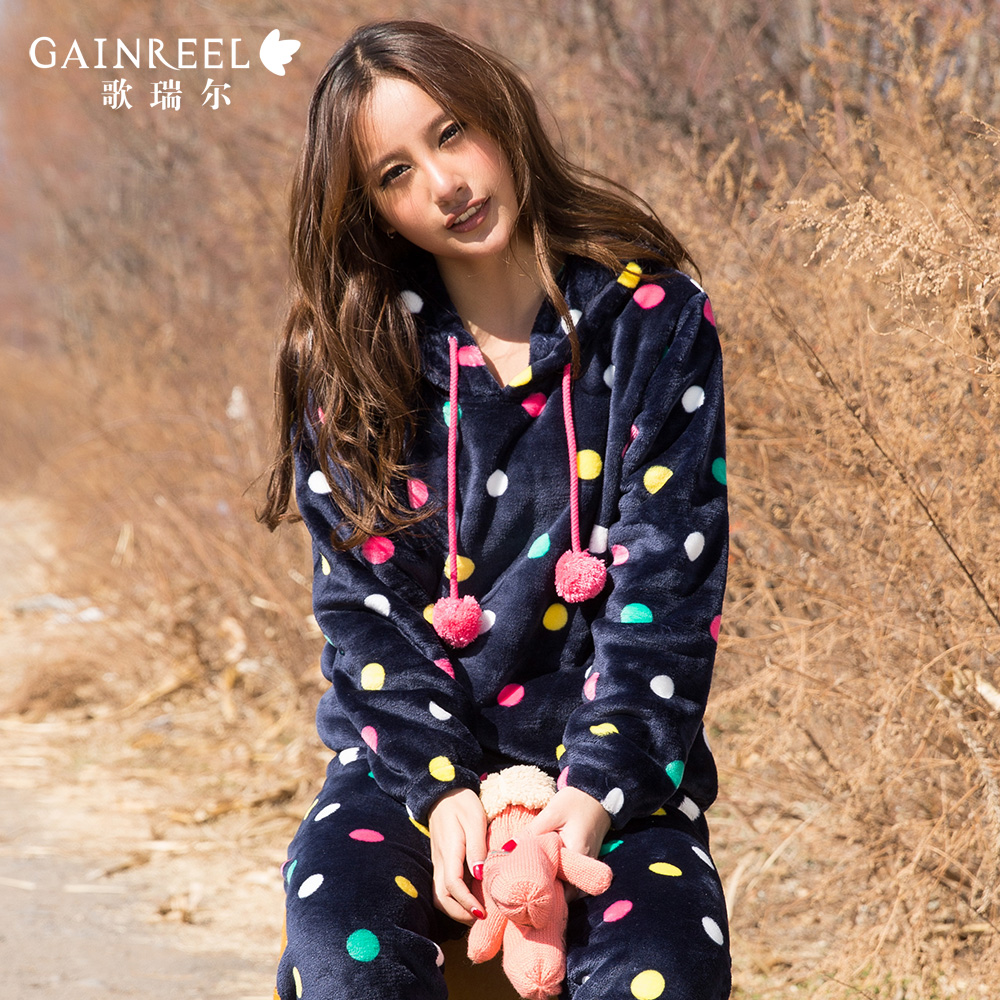 Song Riel winter outer wear flannel pajamas woman lovely wave point long sleeved tracksuit suit Paris