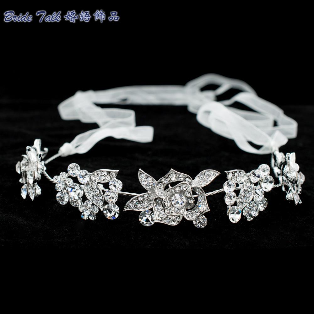 New Rose Flower Head band Chain Ribbon Rhinestone Crystals Hair Band Women Hair Jewelry Bridal Wedding Headpiece GX003(China (Mainland))