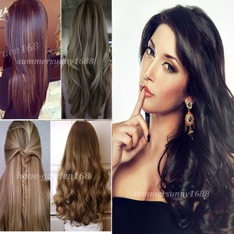 """Cheap Price Free Shipping 24"""" Curly Wavy Long NEW 3/4 Full head Clip in Hair Extensions Real Quality New Fashion Style US Stock(China (Mainland))"""