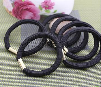 Free shipping!!!Ponytail Holder,Fashion Jewelry Graceful, Rubber, with Zinc Alloy, elastic, black, 10mm, 300PCs/Lot, Sold By Lot