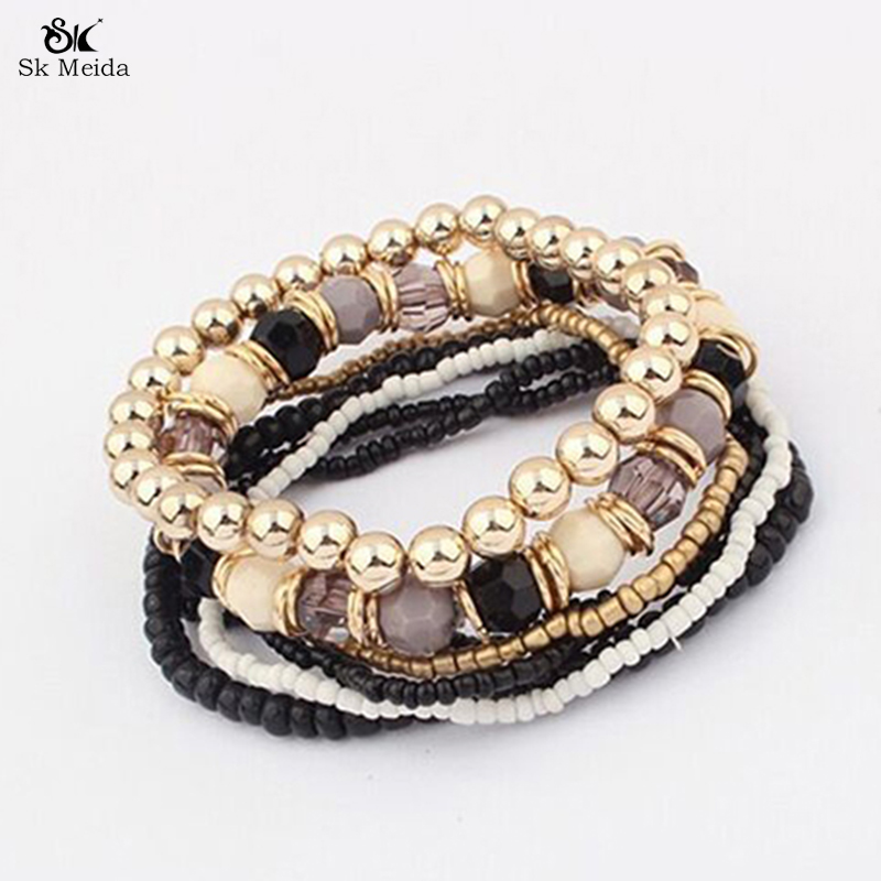 New Fashion Multilayer Bracelet Beads Mixed Elastic Bracelets Charming Jewelry Supplies For Women Accessories ZB-17(China (Mainland))