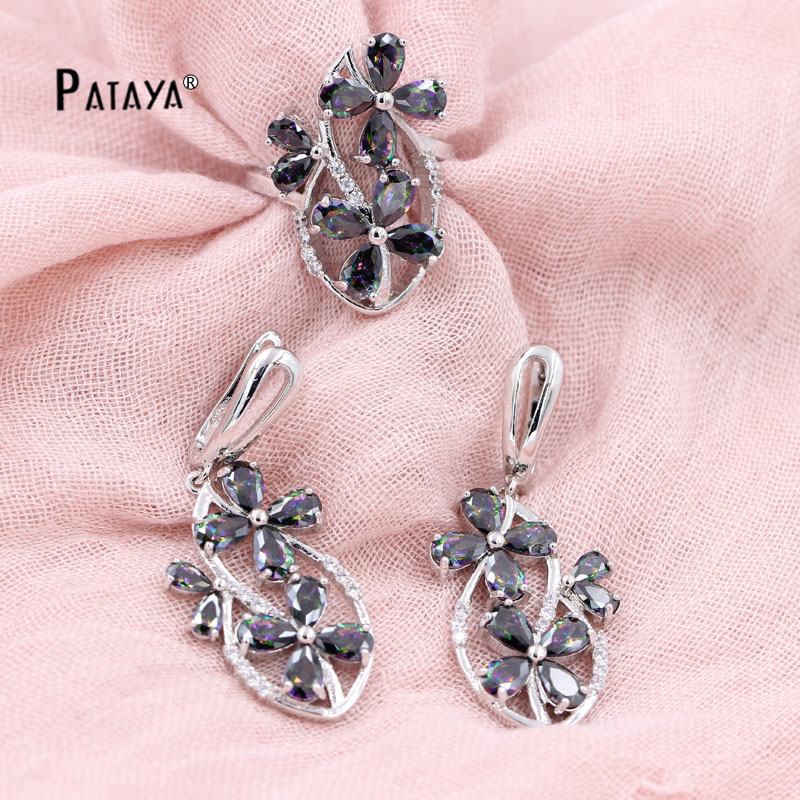 PATAYA 925 Sterling Silver Jewelry Set Black Flower Natural Stone Wedding Accessories Cristal Fine Costume Jewelry Set For Women(China (Mainland))