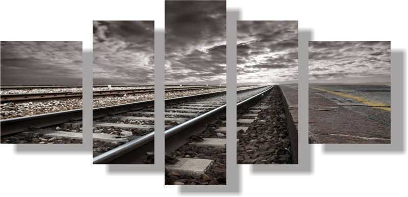 5 Panels Unframed Canvas Photo Prints Railway Wall Art Picture Canvas Paintings Wall Artwork Giclee Paintings Home Decor(China (Mainland))