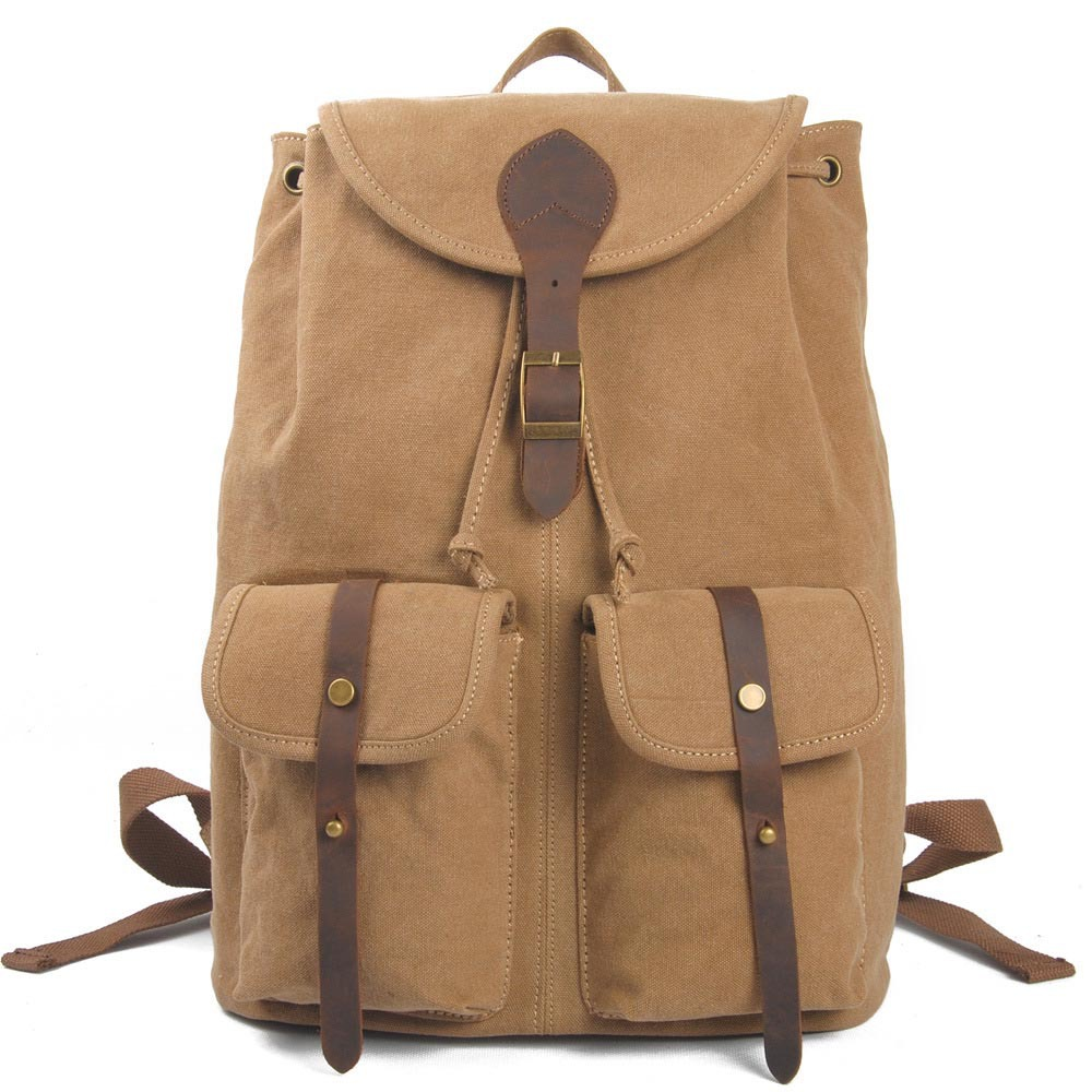 2 exterior pockets string hasp genuine leather canvas womens backpack sports bags men school backpack travel bags MC1867<br><br>Aliexpress