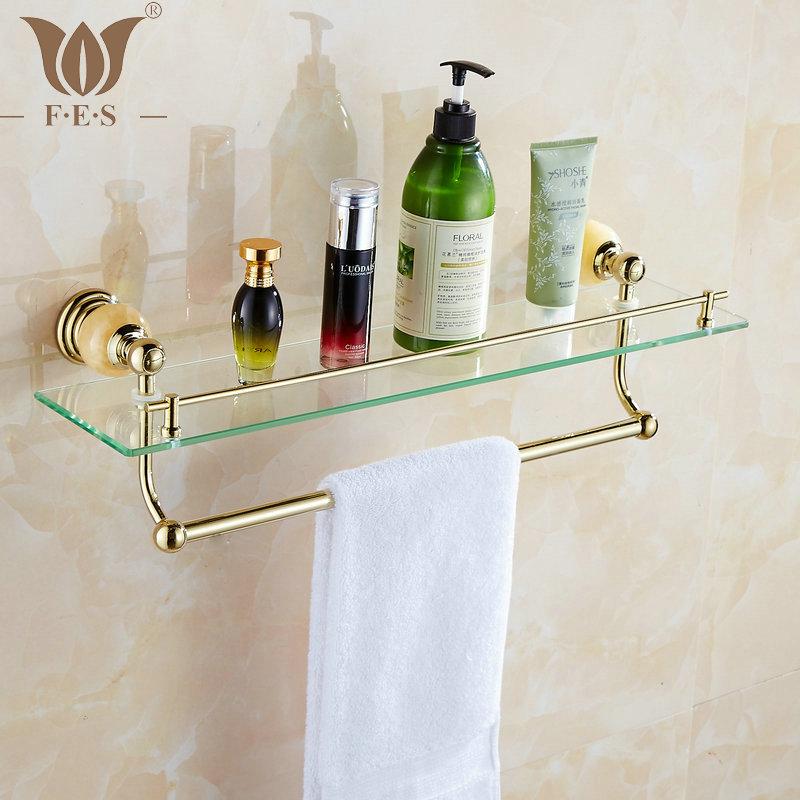 62 Jade Series Golden Polished Bathroom Shelves Bathroom Accessories Towel Holder Towel Bar&Hook With Glass Dressing Shelf(China (Mainland))