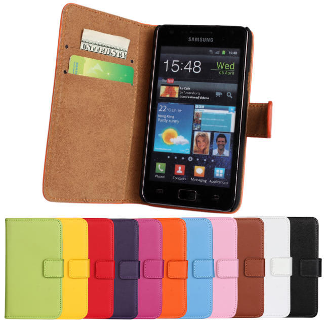 High Quality Genuine Leather Wallet Cover Case For Samsung Galaxy S2 i9100 SII I9100 with Book Style and Card Holder Phone Bag(China (Mainland))