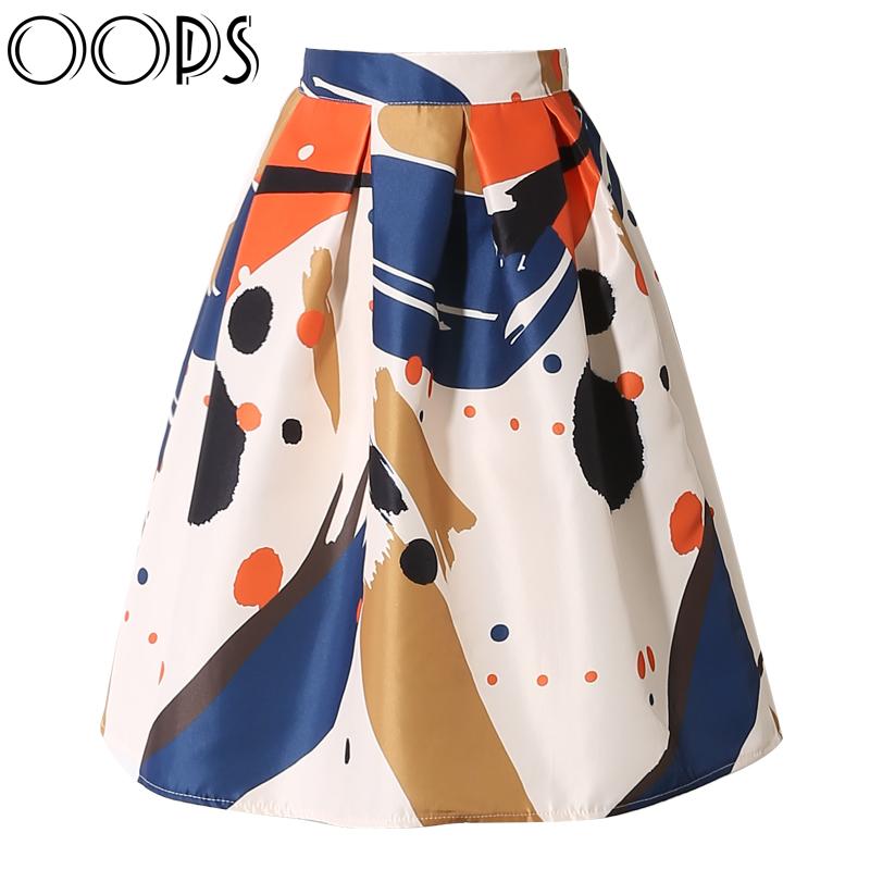 OOPS 2016 New Design Midi Skirts Fashion Summer Vintage Geometric Printed High Waist Swing Pleated Flared Women Skirt A1602011(China (Mainland))