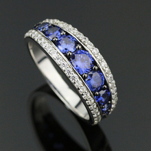 Top Quality Elegant 925 Sterling Silver Engagement Rings AAA Tanzanite CZ Sapphire Stones Rings for Woman Fine Jewelry SR002(China (Mainland))