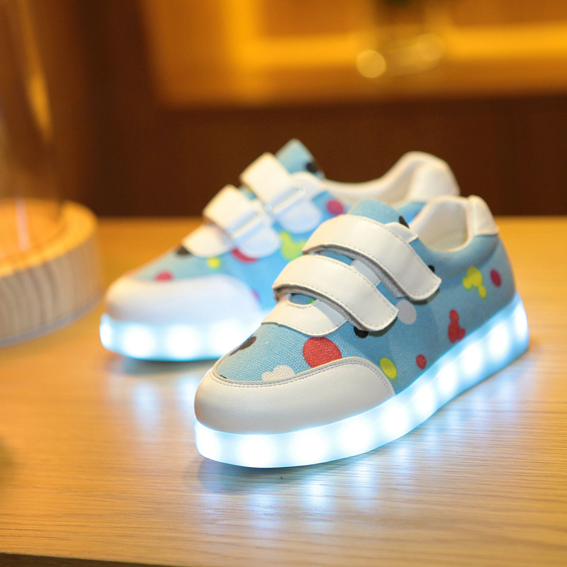 New Children's 7 Colors Glowing Shoes Brand USB Charging Sneakers for Boys Girls Kids Sports Luminous Canvas Shoe 05116a(China (Mainland))