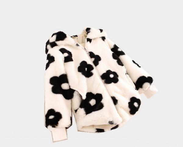 flower girls western style coats baby girl floral printing plush hoodies outwears children wool warm coats kids clothing JL-1835<br>