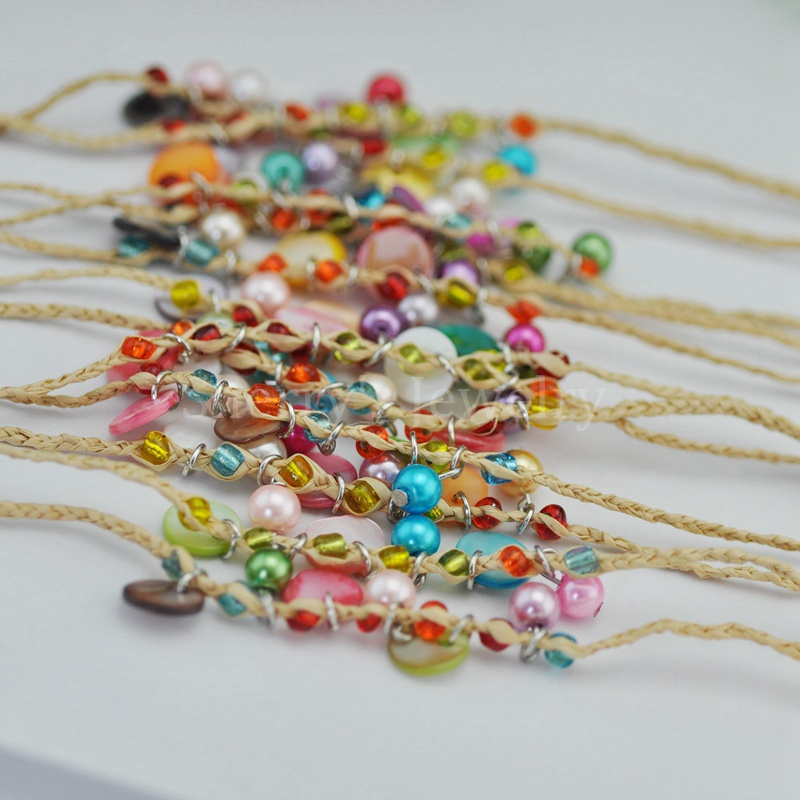 Summer Style Fashion 12pcs Colorful Pearl Beads And Shell Charm Grass Raffia Bracelets Lucky Jewelry for Women Free Shipping(China (Mainland))