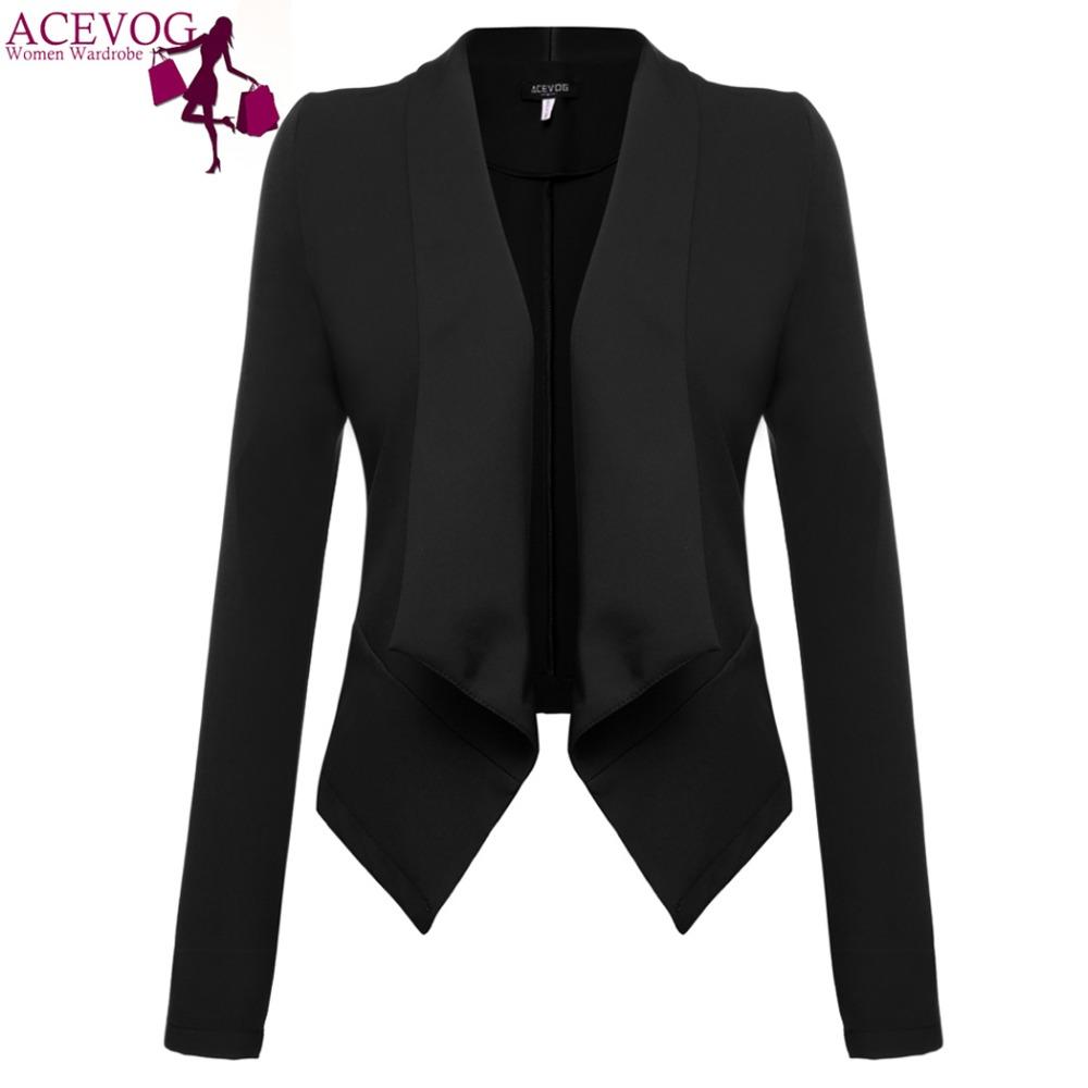 ACEVOG Women Blazer Coat For Autumn Winter Long Sleeve Jacket Coat Basic Elegant Lady Blazer Dark Red,Black Plus Size M,L,Xl,Xxl(China (Mainland))