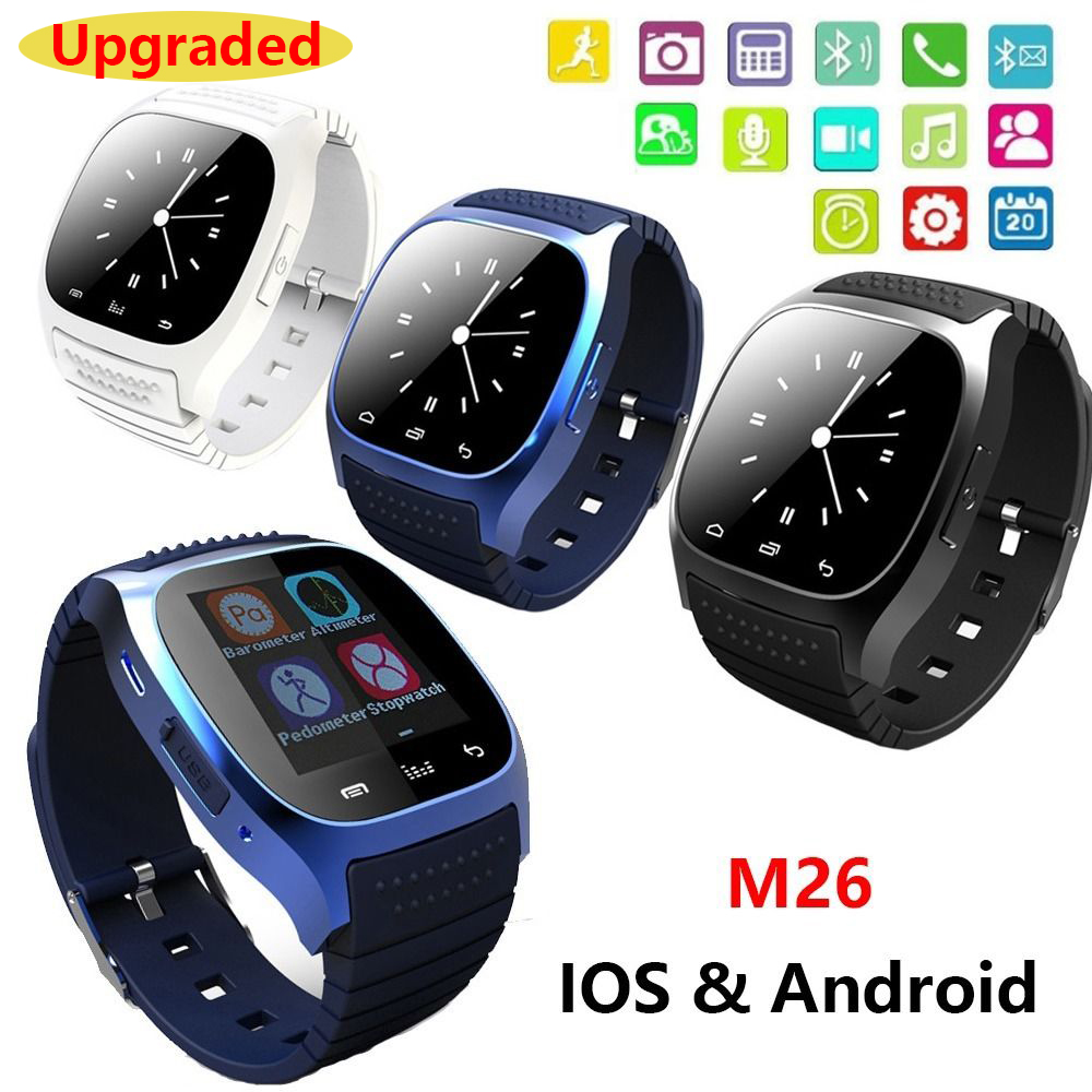 Waterproof Smartwatch M26 Bluetooth Smart Watch With LED Alitmeter Music Player Pedometer For Apple IOS Android