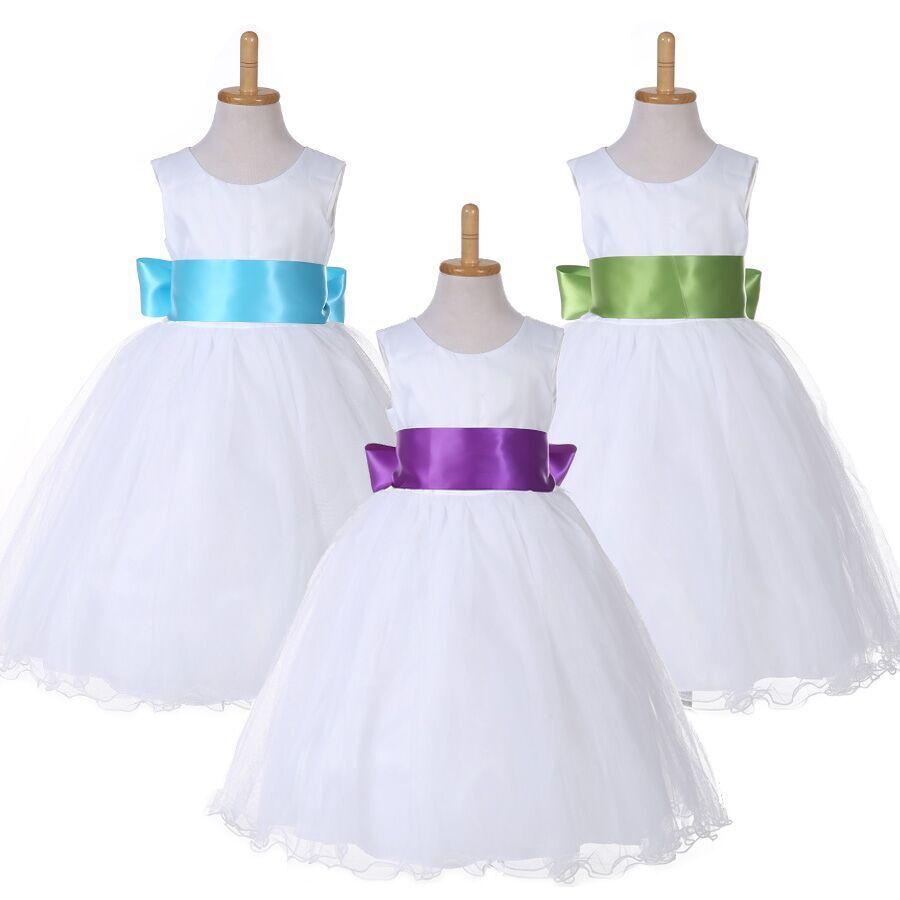 Flower Girl White Dress Pageant Wedding Bridal Dress Children Bridesmaid Dress(China (Mainland))