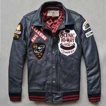 Avirex fly fashion genuine leather jacket men winter leather coat men cowskin black baseball jacket with patches flight jacket (China (Mainland))