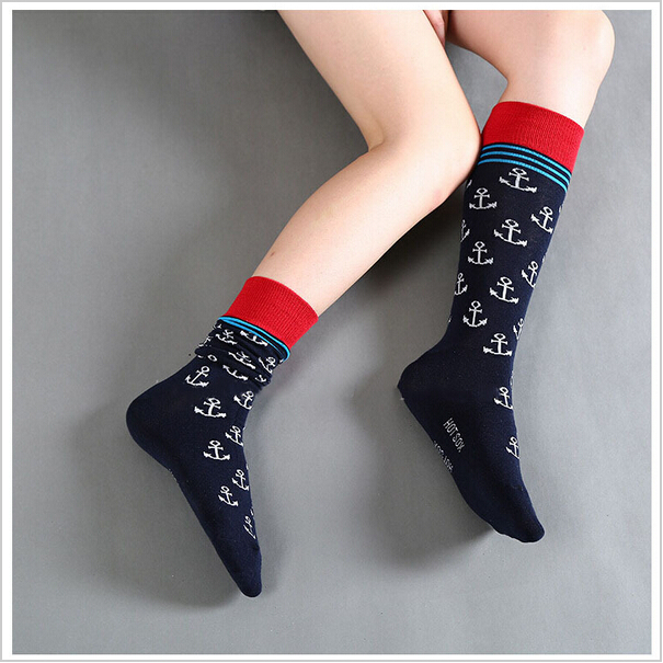 Free shipping Octopus and Anchor socks Full Cotton Knee high socks marijuana male socks