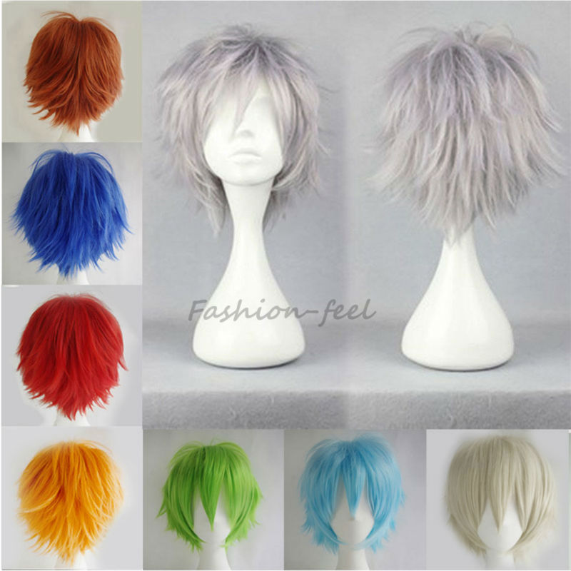 Young Boys Girls New Trendy Short Wigs Green Red White Cosplay Party Anime Full Synthetic Hair Wig Heat Resistant CHEAP(China (Mainland))