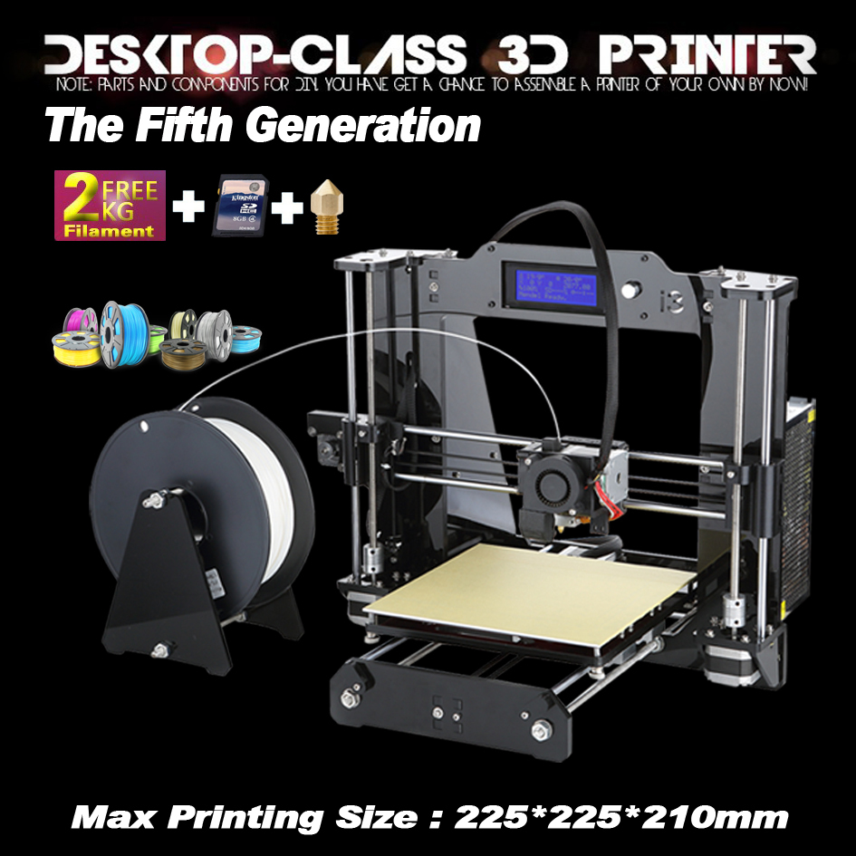 7 Material size 225*225*210mm High Quality Precision Reprap Prusa i3 DIY 3d Printer kit with 2 Roll Filament 8GB SD card and LCD(China (Mainland))