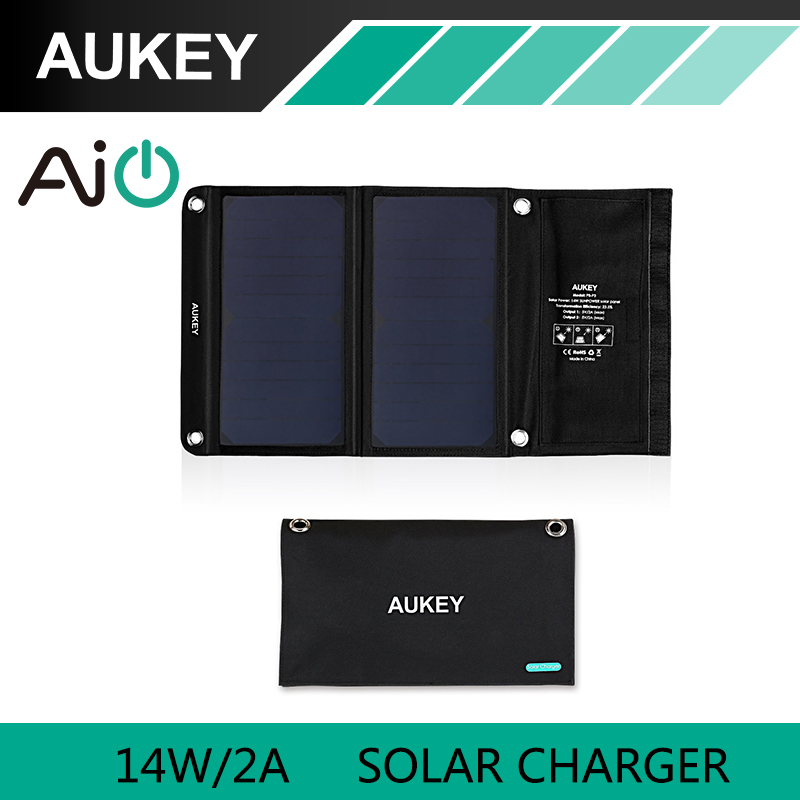 AUKEY 14W Solar Charger with Dual USB Port for Apple iPhone , Android (Foldable, Portable, AiPower Adaptive Charging Technology)(China (Mainland))