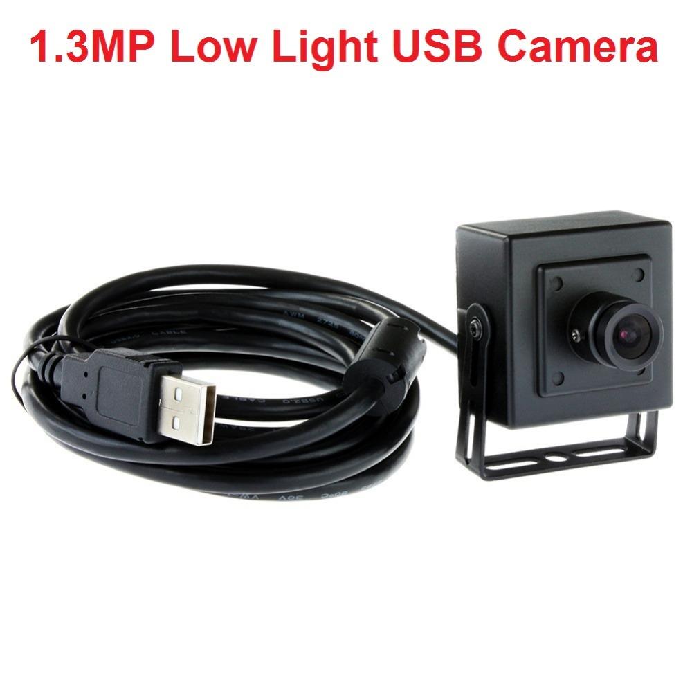 1.3 Megapixel black  HD low illumination 0.01lux 1/3 cmos  usb2.0 2.1mm lens mini web camera ELP-USB130W01MT-BL21