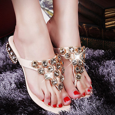 2013 sandals fashion genuine leather rhinestone flip flops shoes summer female handmade crystal diamond with sandals
