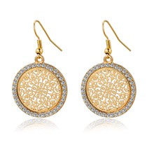 Pendientes Vintage Big Round Flower Gold Silver Statement Drop Earrings For Women Crystal Wedding Earrings Brincos SER140389(China (Mainland))