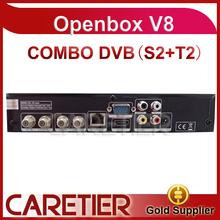 Meilleures ventes modèle livraison gratuite openbox v8 combo récepteur dvb - s2 + t2 livraison gratuite par DHL 2 pcs/lote(China (Mainland))