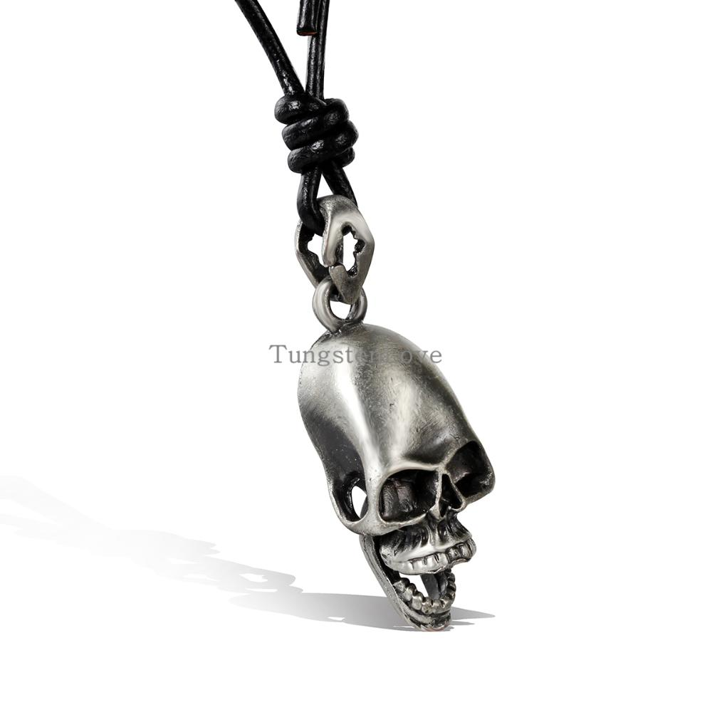 2015 New Arrival Mens Skull and crossbones Pendant Necklaces Fashion Jewelry Punk Cool Leather Necklace Drop Shipping(China (Mainland))