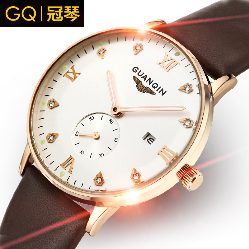 GUANQIN luxury brand quality goods Shi Yingnan watch real leather ultra-thin waterproof noctilucent leisure men's wrist watch(China (Mainland))