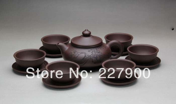 Chinese Yixing Handmade Zisha Purple Clay Tea Set Tea Service Zhizuchangle Zini 360cc 50cc