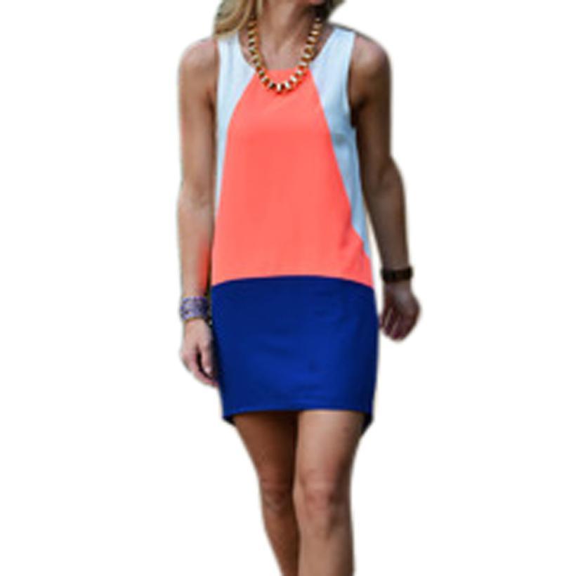 Fantastic 2016 new design Women Summer mini Dresses Lady Casual Auburn Color Block Dress Fashion Dress free shipping Apr 13(China (Mainland))