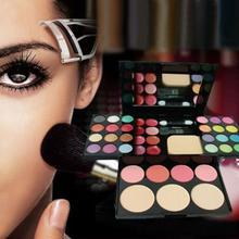 D6li  Blusher Lip Gloss Shimmer Eyeshadow Palette Makeup Kit Brush Mirror Cosmetic Set Tool for Beauty Women A14(China (Mainland))