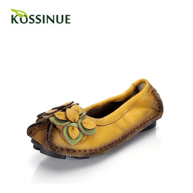 Women Genuine Leather Flat Shoes Woman Loafers 2015 New Fashion Women Casual Handmade Flower Women Flats(China (Mainland))