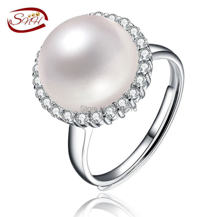 SNH natural freshwater pearl ring 925 Sterling Silver Ring cultured genuine Real Pearl Rings For Women Wedding Ring(China (Mainland))