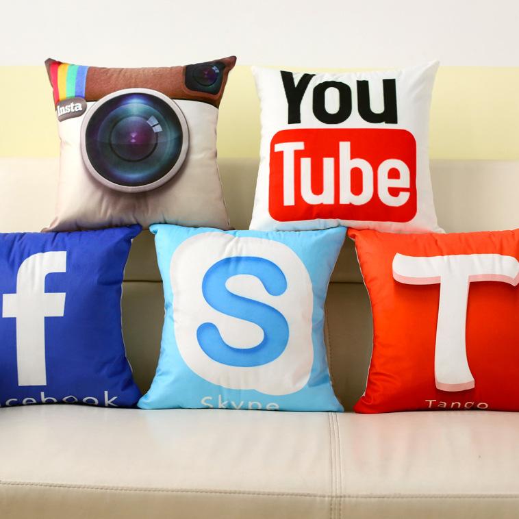 8 Styles Social Network Media Logo Cushion Covers Facebook Whatsapp Skype YouTube Camera Pillow Case Sofa Pillow Cover 40x40cm(China (Mainland))