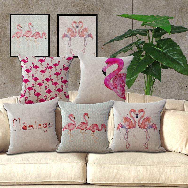 buy watercolor flamingo decorative pillow